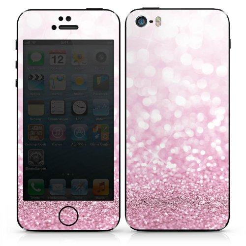Apple iPhone SE Case Skin Sticker aus Vinyl-Folie Aufkleber Glitzer Look Pink Glanz DesignSkins® glänzend