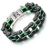 YSM Edelstahl Armband Motorrad Kette Armband 220mm schweres Armband 16.5mm Breite schwarzes grünes Armband