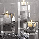 DecentGadget® 4CM Hight K9 Elegant Glass Crystals Square Votive Tealight Candle Holder Cuboid Candle Holder for Party Ceremony Wedding Centerpiece Home Decoration Pink Tea Light Candle Included (4CM hight)