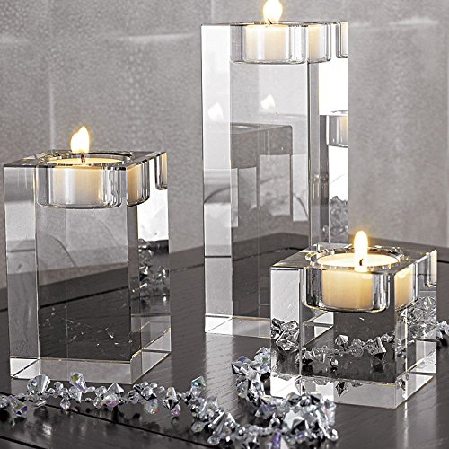 DecentGadget® K9 Crystals Votive Tealight Candle Holder for Party Ceremony Wedding Centerpiece Home Decoration With Candle//Kerzenhalter Teelichthalter Kerzenständer Windlichthalter (50*50*40MM) Crystal Votive