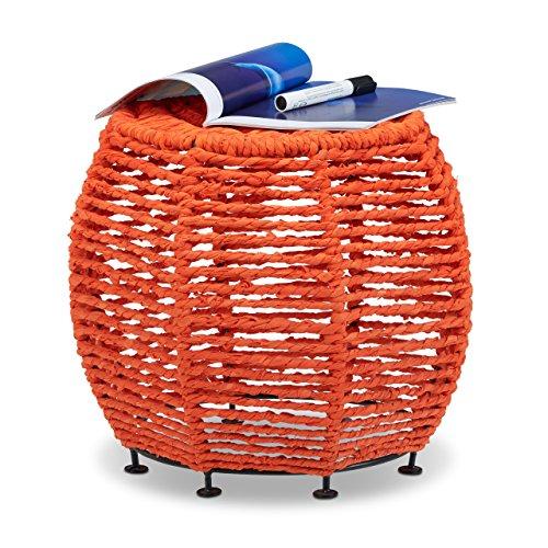Relaxdays Tabouret en coton recyclé corde tricot coloré rond pouf repose-pieds cadre métal Shabby Chic HxlxP: 35 x 42 x 42 cm, orange