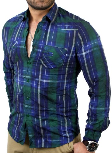 Reslad Herren Vintage Batik Style Knitter Karo Langarm Hemd RN-4054 Blau-Grün XL