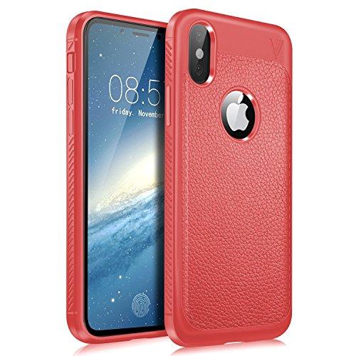 Preisvergleich Produktbild Alsoar ersatz für iPhone XR Hülle, Ultra Dünn Weich TPU Silikon iPhone XR Handyhülle Anti-Scratch Stoßfest Flexibel Litschi-Muster Leder Braun Case 360 Grad Schutzhülle (Rot)