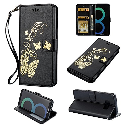 Galaxy S8 Hülle, Anlike Schutzhülle für Samsung Galaxy S8 (5,8 Zoll) Wallet Tasche [Butterfly geprägte Serie Bronzing] Handyhülle - Schwarz