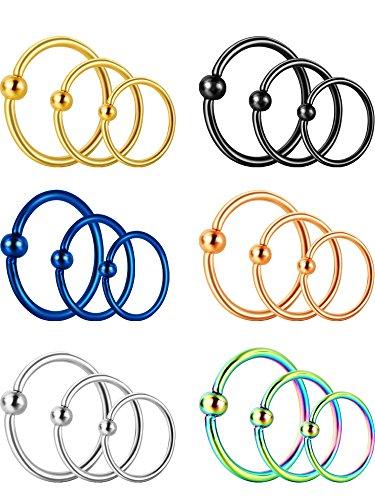 Sumind 18 pezzi 20g anello di naso in acciaio inossidabile cerchio anello setto cartilagine elica piercing dell'orecchio, 3 dimensioni, 6 color