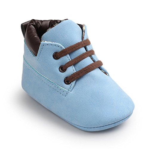 Xmansky Unisex-Baby weiche warme Sohle Schuhe Infant Jungen Mädchen Kleinkind Schuhe (6-12 Monat, Schwarz) Blau