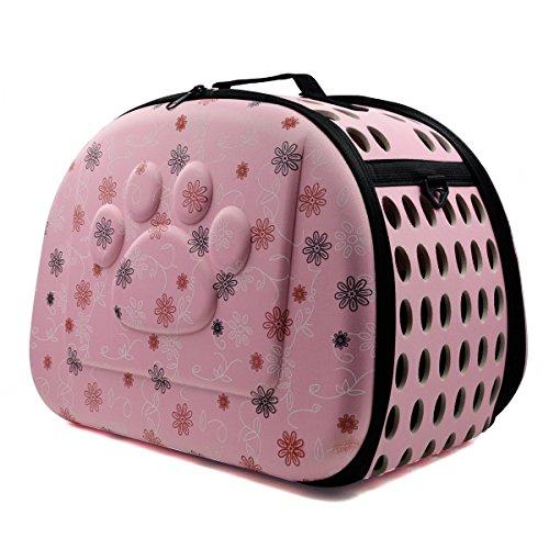 Binnan Transportín Bolsa Plegable Respirable Portador de Mascotas para Pequeños Mascota Perros y Gatos,Rosa
