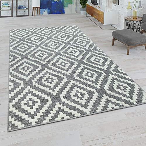 Paco Home Wohnzimmer Teppich, Rauten Muster in Pastell Farben, Moderner Boho Ethno Look, Grösse:160x220 cm, Farbe:Grau-Weiß