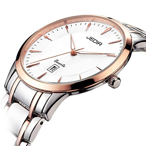 BUREI Montre fine pour femme avec dateur analogique, Saphir en cristal et cadran en or rosé, bracelet en acier inoxydable