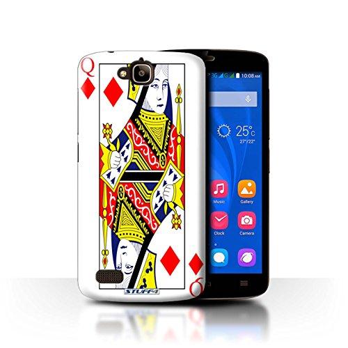 Custodia/Cover Rigide/Prottetiva STUFF4 stampata con il disegno Carte da gioco per Huawei Honor Holly - Queen of Diamonds