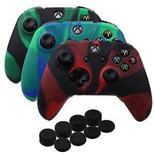 YoRHa Silikon Hülle Abdeckungs Haut Kasten für Microsoft Xbox One X & Xbox One S controller x 3 (rot schwarz&schwarz grün&blau grün) Mit PRO aufsätze thumb grips x 8