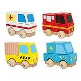 Small Foot by Legler Steckspiel Rettungswagen aus Holz, im 4er Set mit bunten Holzklötzen, Holzklötze auf die Stangen mit leicht laufenden Holzrädern stecken, tolle Fahrzeuge bauen, schult die Motorik