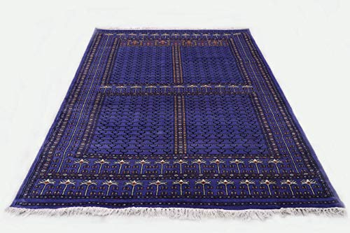 Pink City Souvenirs Handgeknüpfter indischer traditioneller Teppich 5x7 Fuß (150x210 cm) Lila Wolle Parda Design.
