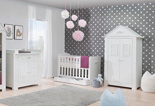 Babyzimmer Kinderzimmer SAINT-TROPEZ weiß MDF, Komplettset B, Bett Schrank Kommode