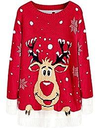 Hannea Christmas Elk Snowfakes Pullover Sweater