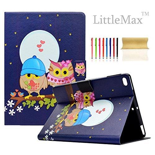 iPad 9,72017/Air/Air 2Hülle, littlemax (TM) Ultra Slim PU Leder Leicht Case Flip Folio Ständer Smart Cover mit Auto Wake/Sleep für Apple iPad 24,6cm 2017, Air 12-#, Owl Lover -