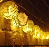 TurnRaise 4.8 Metros 20 LED Guirnaldas de Luces Solar para Fiesta Boda Navidad Forma de Linterna / Farolillo Circular Luz Impermeable Ideal para Árboles, Decoración para Las Fiestas, Jardines, Casas, Bodas (blanco cálido)