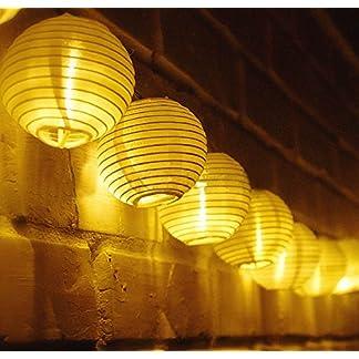 TurnRaise 4.8 Metros 20 LED Guirnaldas de Luces Farolillos Solares Exterior Impermeable para Decoración Jardines Casas Bodas