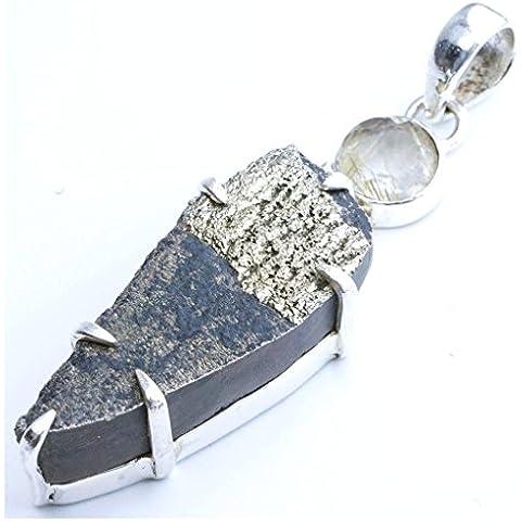 stargems (TM) naturale titanio Druzy pietre semipreziose di quarzo e quarzo affumicato, design unico 925argento Sterling ciondolo 23/4