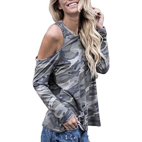 WOCACHI Damen Blusen Frauen weg von der Schulter Camouflage Langarm Bluse Tops T-Shirt (L, Camouflage) (Baumwolle Camouflage T-shirt)