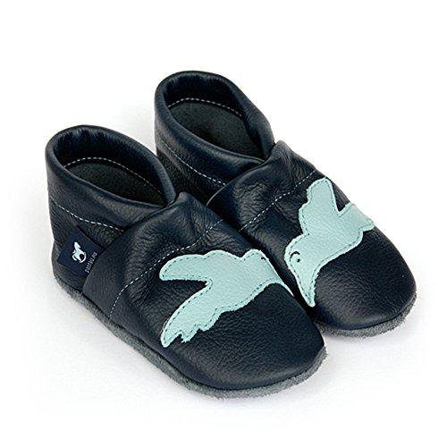 pantau.eu Leder Lauflernschuhe Krabbelschuhe Lederpuschen Babyschuhe mit Vogel BLAU_HELLBLAU