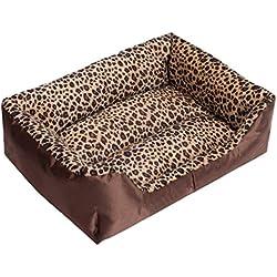 cama de perrito Sannysis perrera Casa para mascotas, rectángulo (Café, M)