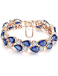 Peora Sparkling Blue AAA Swiss Cubic Zirconia Rose Gold Bracelet for Women/Girls