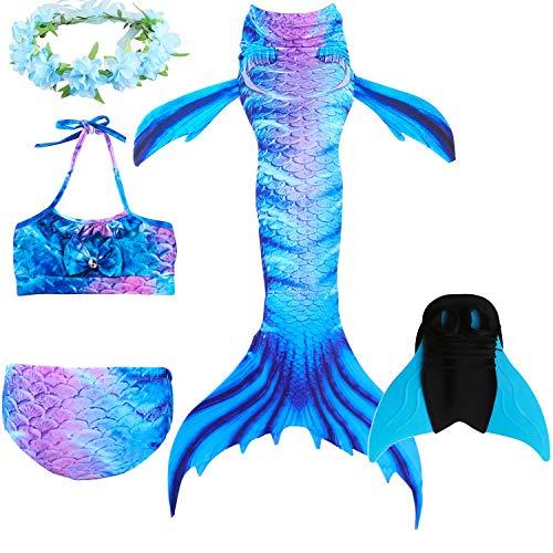 DECOOL Mädchen Meerjungfrau Schwanz Badeanzug - Prinzessin Cosplay Bademode für das Schwimmen mit Bikini Set und Monoflosse, 4 Stück Set