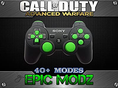 Epic Modz PlayStation 3 PS3 Enhanced Custom Green Controller - Advanced Warfare, Ghosts, Black Ops 2