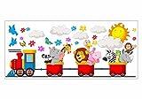 nikima - 061 Wandtattoo Zug mit Tieren Sonne Wolke Löwe Baby - in 6 Größen - Kinderzimmer Sticker Wandaufkleber niedliche Wandsticker Wanddeko Wandbild Junge Mädchen (1000 x 426 mm)