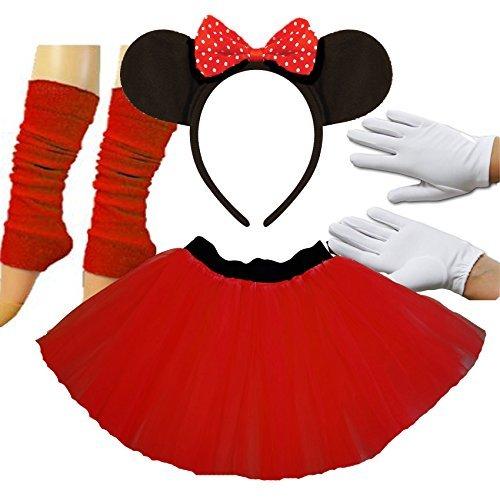 Mouse Kostüm Minnie - Minnie Mouse Ladies Fancy Dress Tutu Ears Gloves Legwarmers Set outfit (Full 4 piece set) by PAPER UMBRELLA