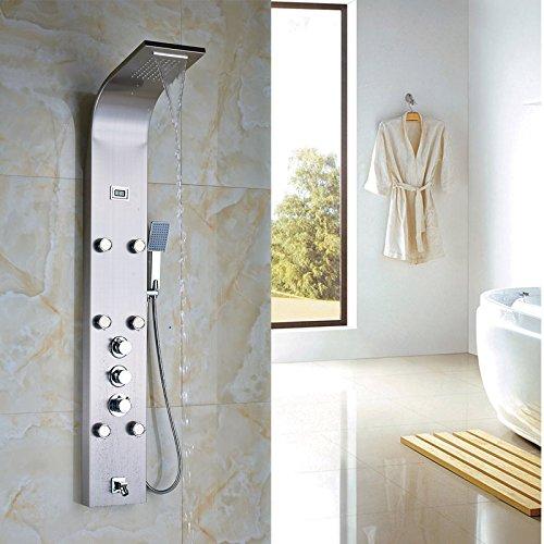 Bagno pioggia e cascata colonna doccia pannello doccia termostatico doccia rubinetto nichel spazzolato a schermo piatto Clear
