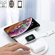 Wireless Charging Pad, 3 in 1 10W Qi Fast Wireless Charger Mat Compatible with Airpods Apple Watch Series 1 2
