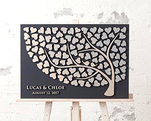 Hochzeitsgästebuch im 3D Baumdesign aus Holz, 50x60cm, personalisierbar, Geschenkidee für das Brautpaar -