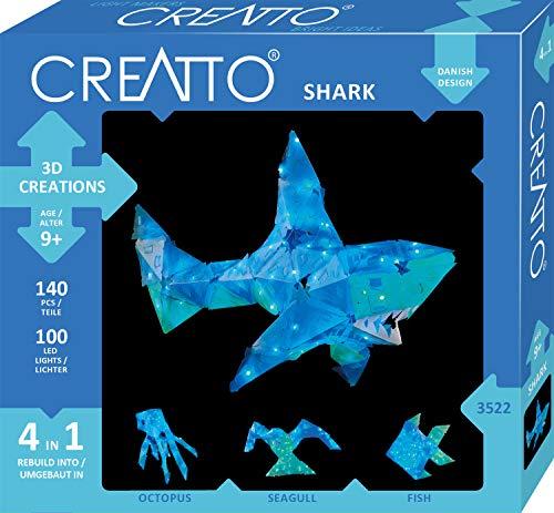 KOSMOS 03522 Creatto Hai, 3D-Leuchtfiguren entwerfen, Bastel Set für Hai, \nTintenfisch, Möwe oder Fisch, gestalte deine kreative Zimmer-Deko, 140 \nSteckteile, 100-teilige LED-Lichterkette, ab 9 Jahre