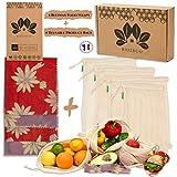 Biozeco Lot de 8 | 4 Emballages cire d'abeille Bio | Bee wrap | 4 sacs fruits et légumes en filet de coton Bio | Alternative Naturelle et Durable pour Conserver Vos Aliments.