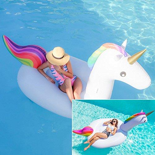 Preisvergleich Produktbild Aufblasbare Einhorn,Aufblasbares Spielzeug Schwebebett Floß ,Pool Schwimmtier Planschbecken für 2-3 Personen Erwachsene &Kinder