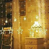 RideaudeLumière, 12ÉtoilesUlinekGuirlandes de NoëlLumineuses,Eclairage féerique2M138LedsFormed'étoile, Décoration pourNoël,Fête, Mariage,Fenêtre, GARANTIE