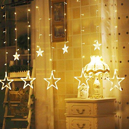 Lichterkette Sternenvorhang 138 LEDs Dekolichter, 8 Lichteffekte, Innen Dekoration für Party, Vorhang, Weihnachten, Halloween, Hochzeit (Warmweiß) (Halloween-innen-dekoration)