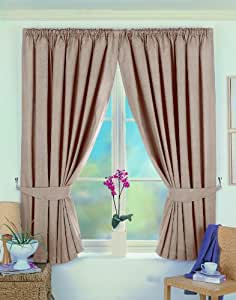 "One pair of Norfolk Pencil Pleat (3"" header) Thermal Curtains in Taupe, Size: 90x54"" (229 x 137 cm) width x drop"