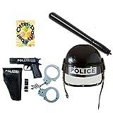 Polizei-Set für Kinder Fasching Mottoparty Polizeihelm Einsatzhelm mit Visier Schlagstock Pistole Halfter Handchellen