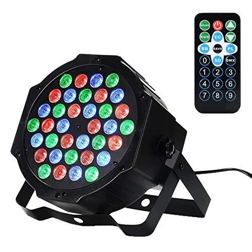 36 LED 1w Scheinwerfer Par Lichter,Lunsy RGB Bunte 7 Beleuchtung Modi Bühnenbeleuchtung Flexible Fernbedienung DMX Steuerung Disko Licht - Licht Scheinwerfer