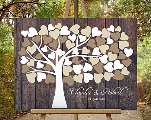 40 Zeitgenössische Leinwand (50x40 cm Wedding tree Hochzeitsbaum - Hochzeitsgästebuch, Hochzeitsalbum Baum Fingerprint Unterschrift auf Leinwand | Leinwanddruck auf Keilrahmen)