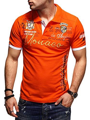 behype. Herren Kurzarm Polo-Shirt Bedruckt 20-0004 (M, Orange)
