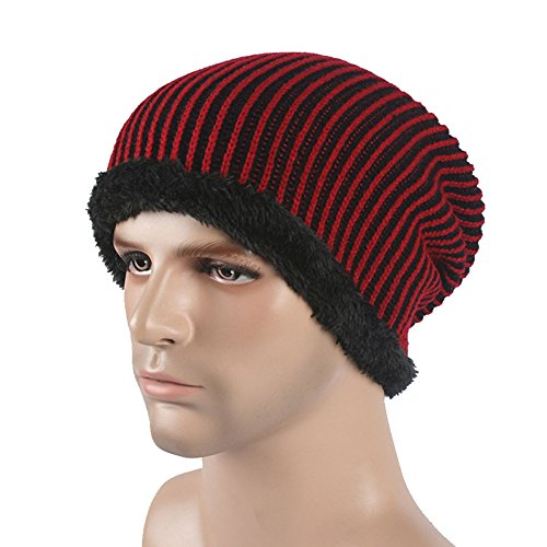 uleade-beanie-hat-knit-hat-winter-skull-wool-hat-windproof-for-men-women-wine-red