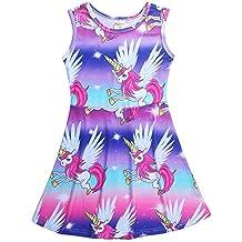zooarts para 4 – 10 años niñas color rosa unicornio Impresión Sin Mangas Falda Fiesta Cumpleaños