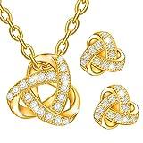 Dawanza - Muttertag Geschenk Schmuckset Damen Vergoldet - Kristall weiß - Modern Halskette mit Knoten Anhänger Kette Ohrringe