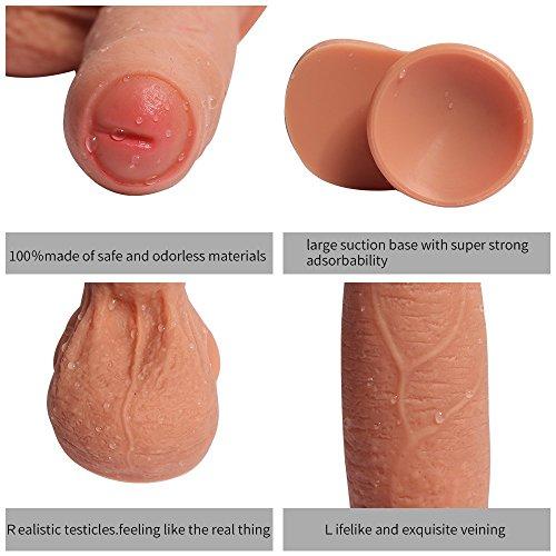 Double Layered Dildo Hyper Realistische Dual Layer Silikon 18 cm Real Dong Penis mit Kostenloser Kosmetiktasche Haut - 3