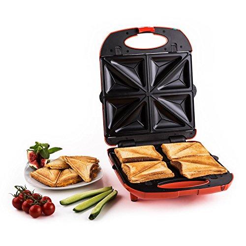 Klarstein Trinity • Sandwichmaker • Sandwichtoaster • Kontaktgrill • Waffeleisen • Austauschbare Heizplatten • 1300 Watt • Antihaftbeschichtung • Deckel klappbar bis 180° • Ready-To-Use-LED • rot