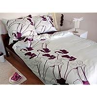3 pièces MAKO SATIN drap blanche violet AUBERGINE 155x200!